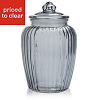 Large Ornate Glass Jar, Grey