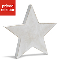 Large Star Wood Ornament, White White wash effect