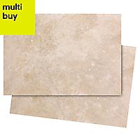 Castle travertine Cream Satin Stone effect Ceramic Wall tile, Pack of 7, (L)450mm (W)316mm
