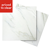 Aquila White Satin Stone effect Porcelain Floor tile, Pack of 5, (L)450mm (W)450mm