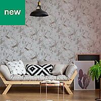 Superfresco Easy Taupe & rose gold effect Floral Wallpaper