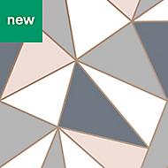 Superfresco Easy Navy & pink Geometric Wallpaper