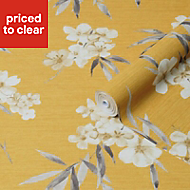 Graham & Brown Super Fresco Easy Ochre Floral Textured Wallpaper