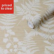 Graham & Brown Super Fresco Easy Ochre Leaves Textured Wallpaper