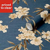 Graham & Brown Super Fresco Easy Navy Floral Textured Wallpaper