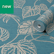 Graham & Brown Boutique Teal Leaves Metallic effect Textured Wallpaper