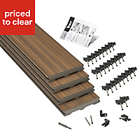 Trex® Torino brown Composite Deck board (L)2.4m (W)140mm (T)24mm, Pack of 4