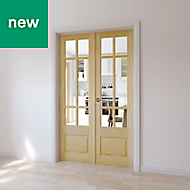 2 panel 6 Lite Clear Glazed Primed Pine Internal French Doorset, (H)1981mm (W)579mm