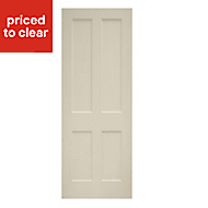 4 panel White Oak veneer Internal Door, (H)1981mm (W)686mm