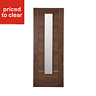 5 panel Glazed Flush Walnut veneer LH & RH Internal Door, (H)1981mm (W)686mm