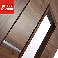 5 panel Glazed Flush Walnut veneer LH & RH Internal Door, (H)1981mm (W)686mm