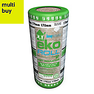 Knauf Eko Roll Loft insulation roll, (L)5.68m (W)1.14 m (T)170mm