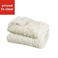 Clarice Cream Plain Faux Fur Throw