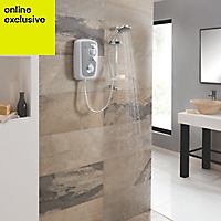 Triton Fevore White & grey Electric shower, 8.5 kW