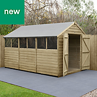 Forest Garden 12x8 Apex Overlap Timber Shed - Assembly service included