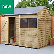 Forest Garden 8x6 Reverse apex Overlap Timber Shed - Assembly service included