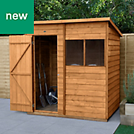 Forest Garden 6x4 Pent Overlap Timber Shed (Base included) - Assembly service included