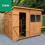 Forest Garden 8x6 Pent Overlap Timber Shed (Base included) - Assembly service included