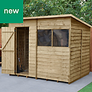 Forest Garden 8x6 Pent Overlap Timber Shed (Base included)