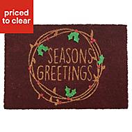 Seasons greetings Red Coir & PVC Door mat (L)0.4m (W)0.58m