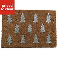 Christmas trees glitter Silver effect Coir & PVC Door mat (L)0.4m (W)0.58m