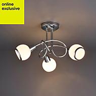 Cherika Modern Chrome effect 3 Lamp Ceiling light
