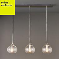 Hester Nickel effect 3 Lamp Pendant Ceiling light