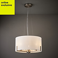 Westbourne Ivory Nickel effect 3 Lamp Pendant ceiling light