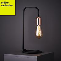 Colours Detroit Matt Black & copper Incandescent Table lamp