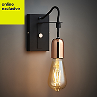 Detroit Black Copper effect Wall light