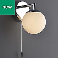 Cap Polished Chrome effect Bathroom Wall light