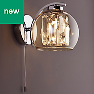 Silas Polished Chrome effect Living room Wall light