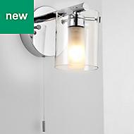Syren Polished Chrome effect Bathroom Wall light