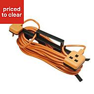 Masterplug 1 socket 10A Orange Extension lead, 15m