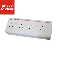 Masterplug 13A White Single Switched Socket