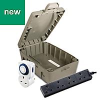 Masterplug 4 socket 13A Grey Extension lead, 8m
