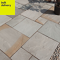 Rustic grey Paving set 17.86m², Pack of 48