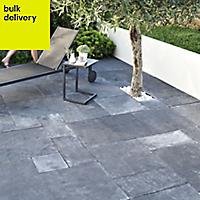 Blue black Natural limestone Single paving slab (L)600mm (W)300mm