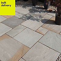 Rustic grey Natural Sandstone Single paving slab (L)600mm (W)600mm