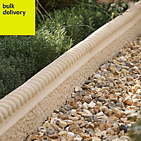 Old town Traditional Single sided Weathered limestone Paving edging (H)200mm (W)450mm (T)50mm