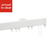 Contour Corded White Fixed Curtain track, (L)3m