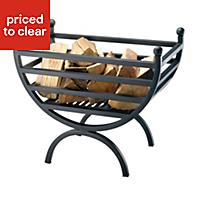 Slemcka Henley Contemporary Metal Fire basket (H)480mm (D)320mm