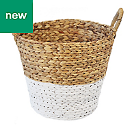 Slemcka Contemporary Water Hyacinth Storage Basket (H)360mm (D)350mm