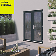 1 Lite Clear 2 panel Grey Fully finished Hardwood External French door, (H)2094mm (W)1494mm