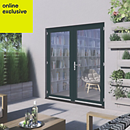 1 Lite Clear 2 panel Grey Fully finished Hardwood External French door, (H)2094mm (W)1794mm