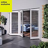 White Hardwood Glazed Patio door set, (H)2104mm (W)3004mm