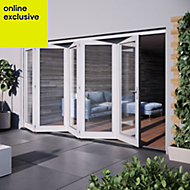 White Hardwood Glazed Patio door set, (H)2104mm (W)3504mm