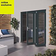 Grey Hardwood Glazed Patio door set, (H)2104mm (W)1804mm