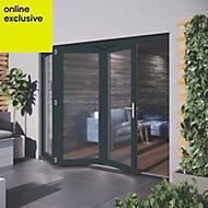 Grey Hardwood Glazed Patio door set, (H)2104mm (W)2404mm