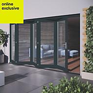 Grey Hardwood Glazed Patio door set, (H)2104mm (W)3504mm